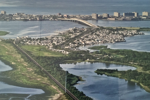 The Door Prize; mounted aerial view of Broad Channel; a photograph by John Grillo